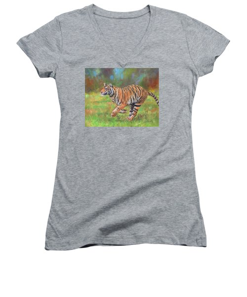 Women's V-Neck T-Shirt (Junior Cut) featuring the painting Tiger Running by David Stribbling