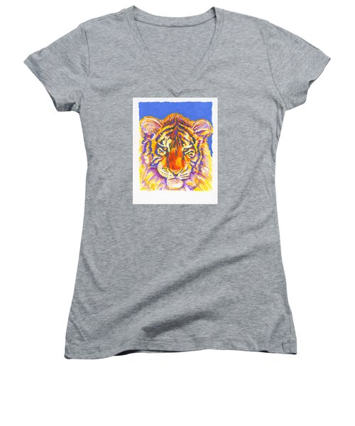 Women's V-Neck T-Shirt (Junior Cut) featuring the painting Tiger by Stephen Anderson