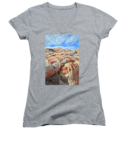 Tiger Stripes In Valley Of Fire Women's V-Neck T-Shirt (Junior Cut) by Ray Mathis