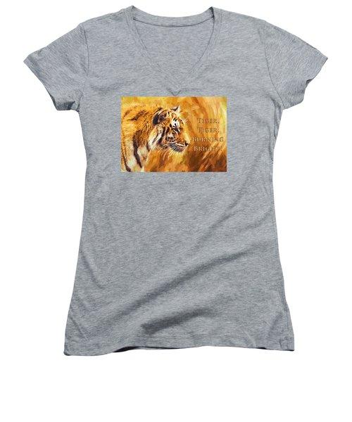 Tiger Tiger Burning Bright Women's V-Neck