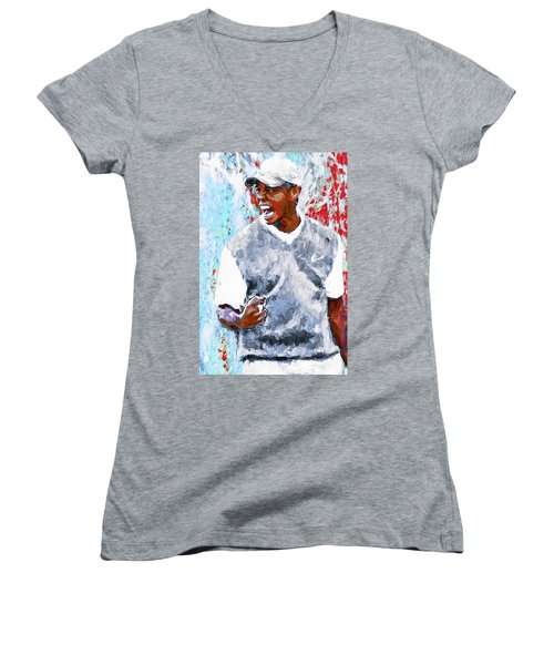 Women's V-Neck T-Shirt (Junior Cut) featuring the photograph Tiger Woods One Two Red Painting Digital by David Haskett