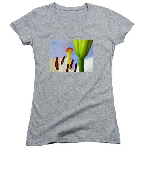 Women's V-Neck T-Shirt (Junior Cut) featuring the photograph Tigerlily Close-up by Ana Maria Edulescu