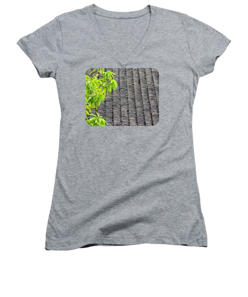 Tiled Roof Women's V-Neck T-Shirt (Junior Cut) by Ethna Gillespie