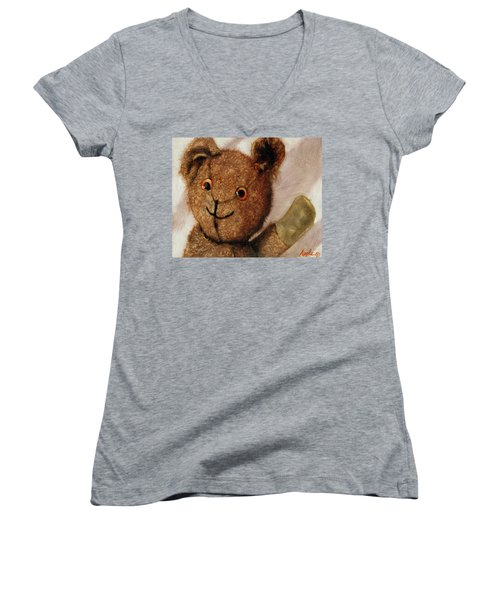 Tillie - Vintage Bear Painting Women's V-Neck T-Shirt (Junior Cut)