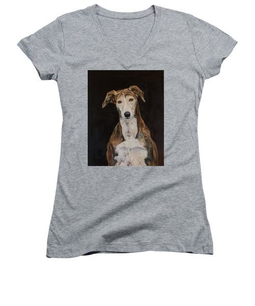 Tilly The Lurcher Women's V-Neck (Athletic Fit)
