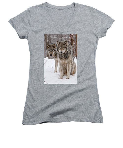 Timber Wolves In Winter Women's V-Neck (Athletic Fit)