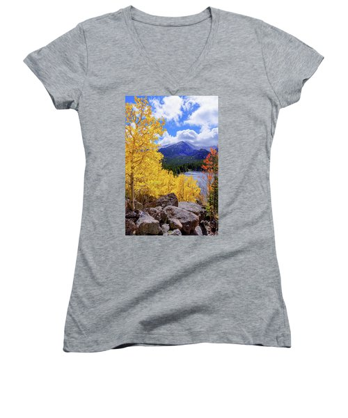 Women's V-Neck T-Shirt (Junior Cut) featuring the photograph Time by Chad Dutson