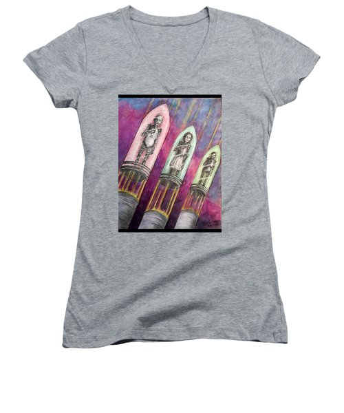 Time  Column Women's V-Neck T-Shirt