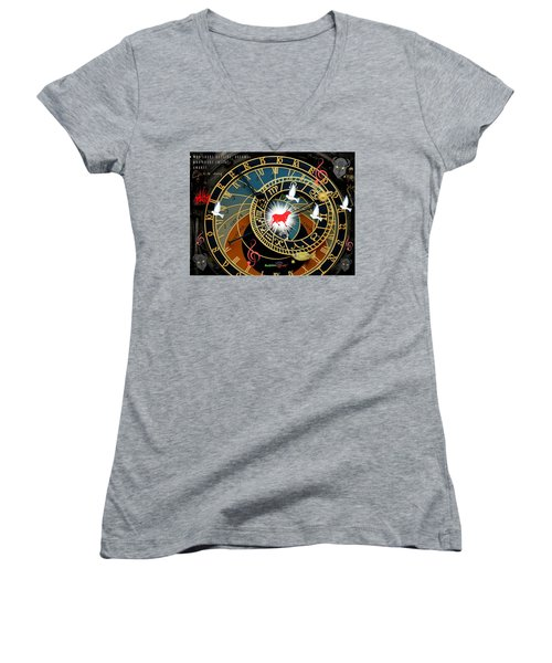 Time Stops Women's V-Neck (Athletic Fit)