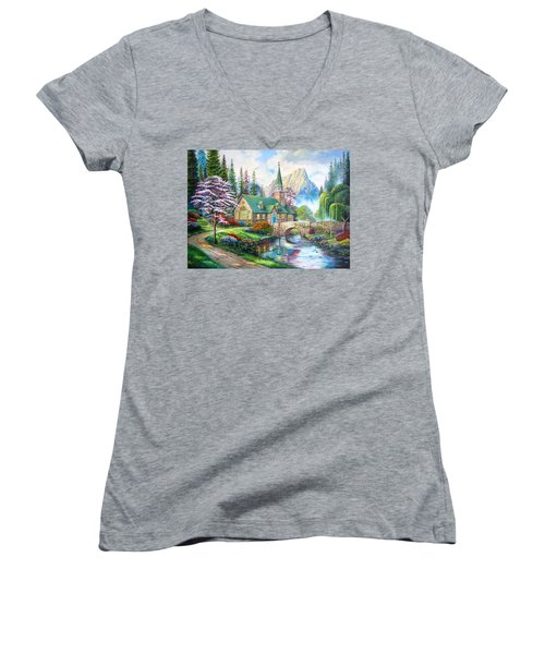 Women's V-Neck T-Shirt (Junior Cut) featuring the painting Time To Come Home by Karen Showell