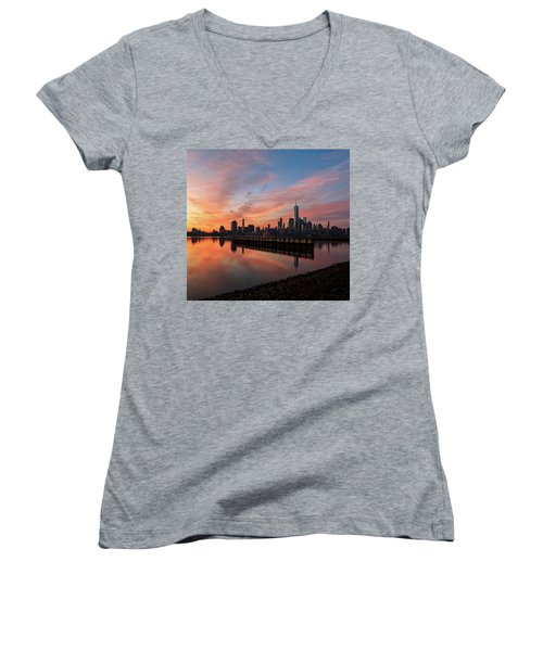 Time To Reflect  Women's V-Neck T-Shirt (Junior Cut) by Anthony Fields