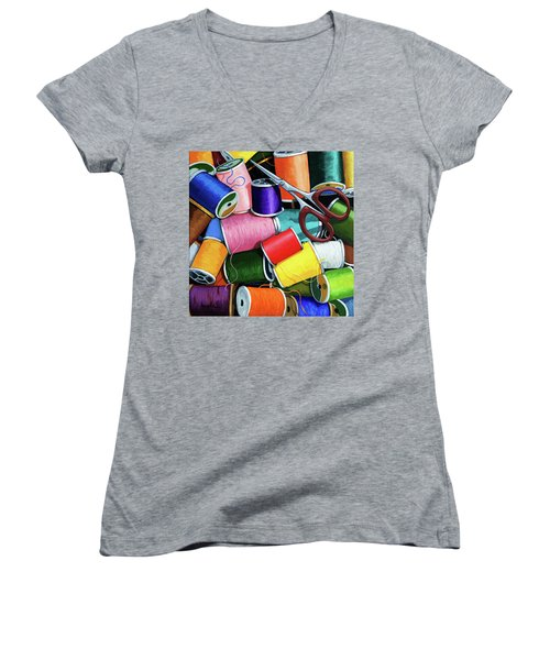 Women's V-Neck T-Shirt (Junior Cut) featuring the painting Time To Sew - Colorful Threads by Linda Apple