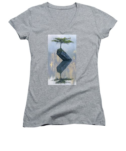 Timeless Tranquility Women's V-Neck T-Shirt (Junior Cut) by Keith Boone
