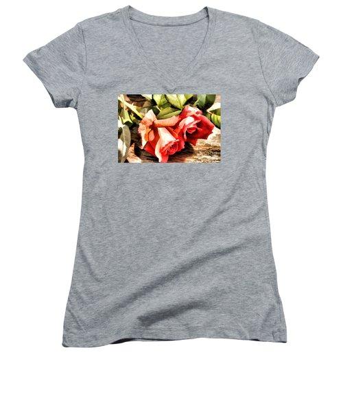 Timeless Tropicana Roses Women's V-Neck T-Shirt