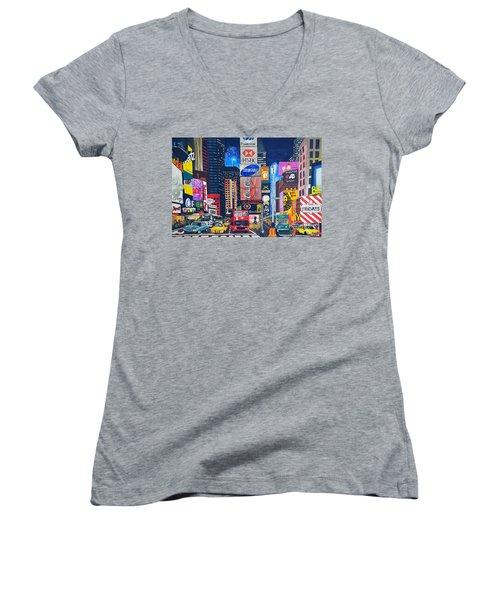 Times Square Women's V-Neck T-Shirt (Junior Cut) by Autumn Leaves Art