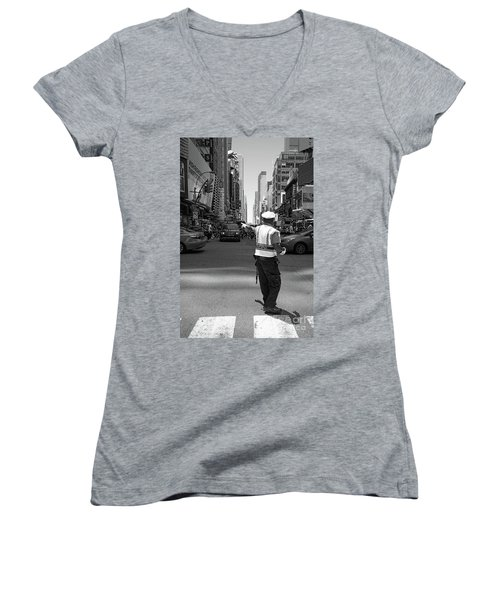 Women's V-Neck T-Shirt (Junior Cut) featuring the photograph Times Square, New York City  -27854-bw by John Bald