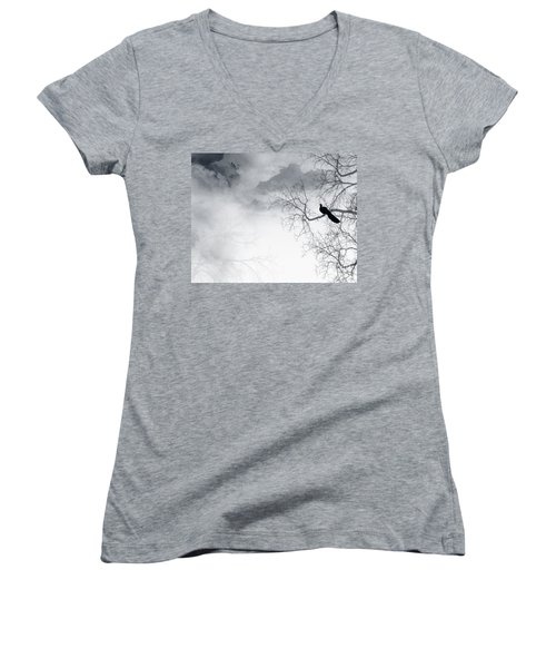 Women's V-Neck T-Shirt (Junior Cut) featuring the digital art Timing Is Everything by Trilby Cole