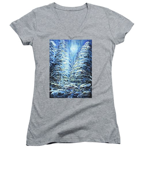 Women's V-Neck T-Shirt (Junior Cut) featuring the painting Tim's Winter Forest by Holly Carmichael