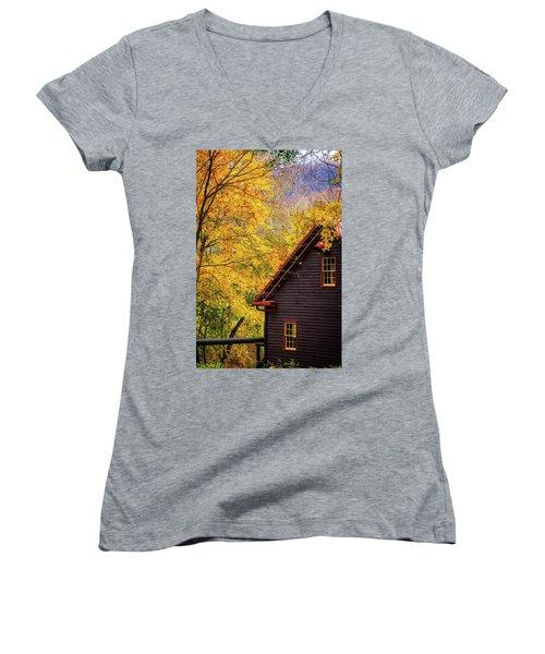 Tingler's Mill In Fall Women's V-Neck T-Shirt