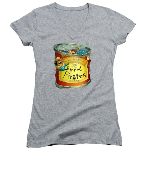 Tinned Pirates Women's V-Neck T-Shirt (Junior Cut) by Andy Catling