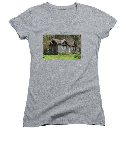 Tiny House In The Woods Women's V-Neck T-Shirt (Junior Cut) by Angi Parks