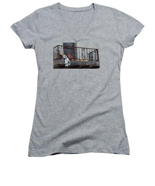 Women's V-Neck featuring the digital art Tiny Southwest Balcony by Shelli Fitzpatrick