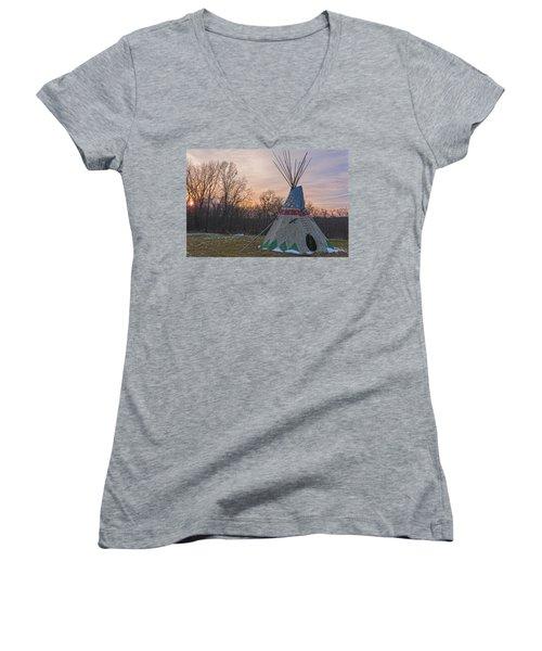 Tipi Sunset Women's V-Neck T-Shirt (Junior Cut) by Angelo Marcialis