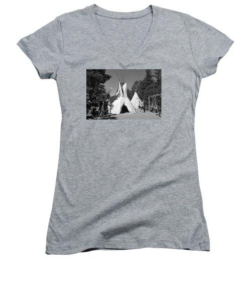 Tipis In Black Hills Women's V-Neck T-Shirt (Junior Cut) by Matt Harang