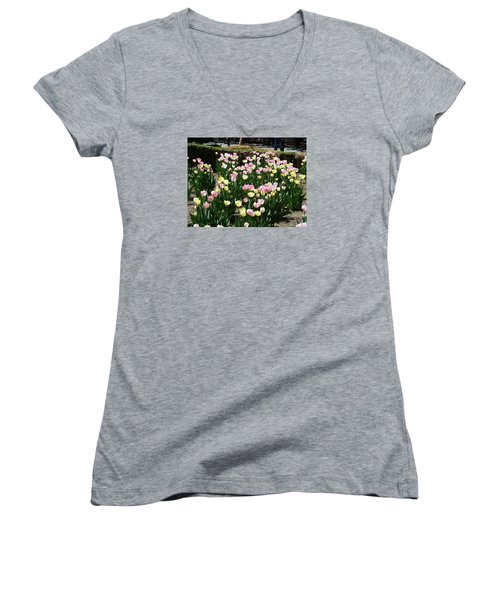 Tiptoe Through The Tulips Women's V-Neck T-Shirt (Junior Cut) by Helen Haw