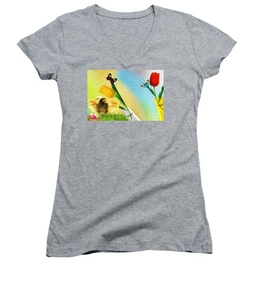 Tiptoe Through The Tulips Women's V-Neck T-Shirt (Junior Cut) by Liane Wright