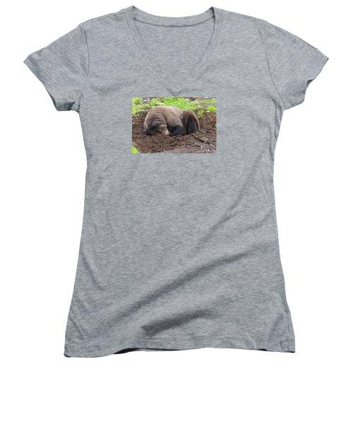 Tired Women's V-Neck T-Shirt (Junior Cut) by Harold Piskiel
