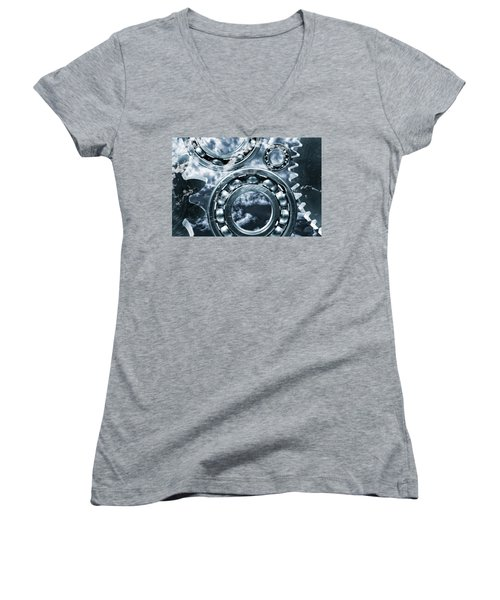Women's V-Neck T-Shirt (Junior Cut) featuring the photograph Titanium Gears Against Storm Clouds by Christian Lagereek
