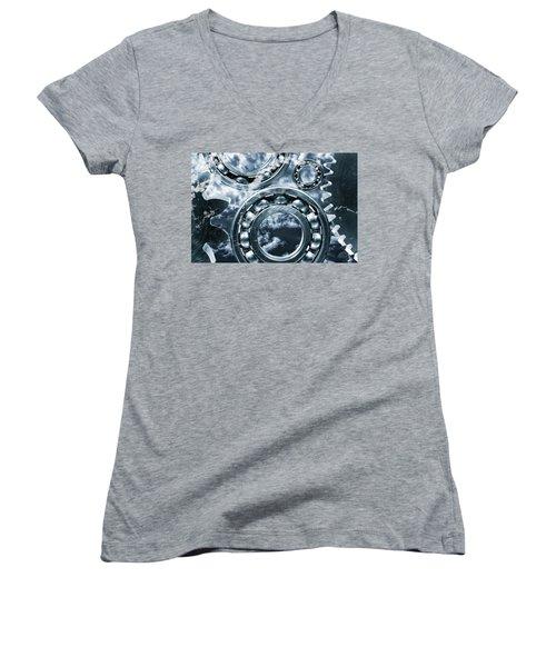 Titanium Gears Against Storm Clouds Women's V-Neck (Athletic Fit)