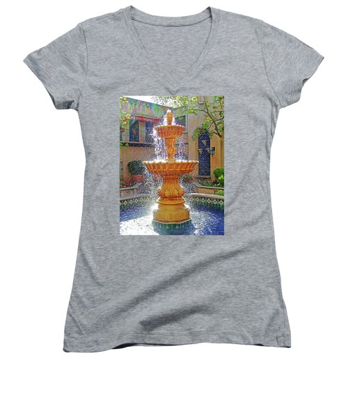 Tlaquepaque Fountain In Sunlight Women's V-Neck T-Shirt