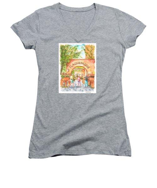 Tlaquepaque Gallery In Sedona, Arizona Women's V-Neck T-Shirt (Junior Cut) by Carlos G Groppa