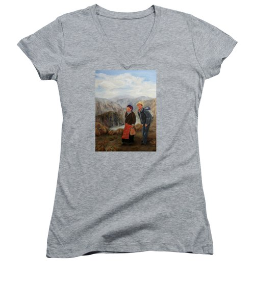 Women's V-Neck T-Shirt (Junior Cut) featuring the painting To Market by Roseann Gilmore