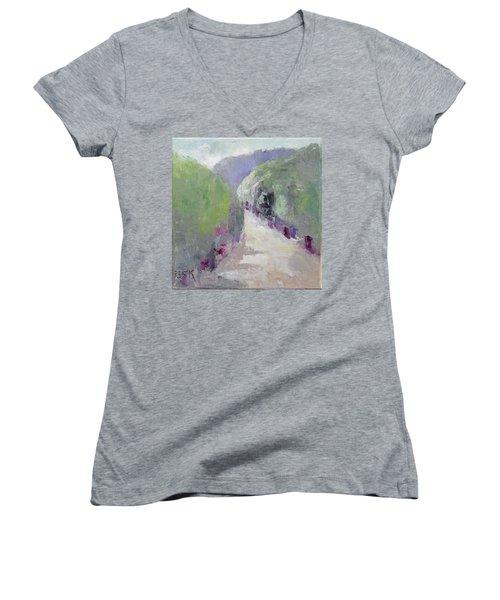 To Mountain Women's V-Neck T-Shirt (Junior Cut) by Becky Kim