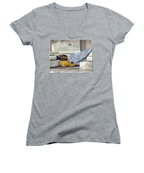 Women's V-Neck T-Shirt (Junior Cut) featuring the photograph To Sleep Perchance To Dream by Brian Wallace