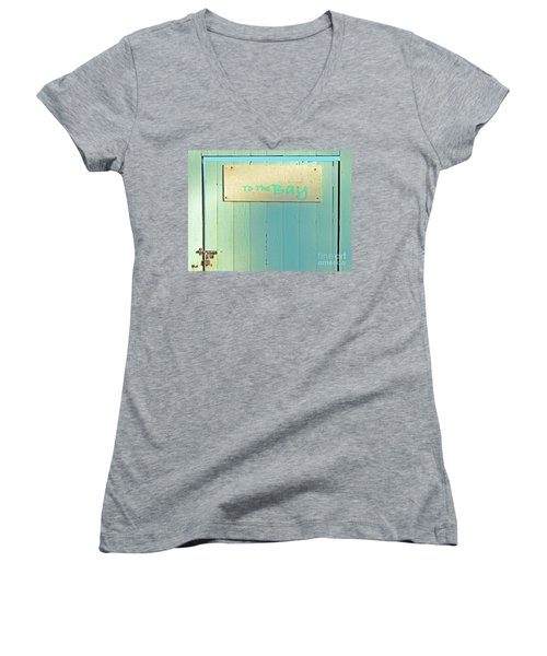 Women's V-Neck T-Shirt (Junior Cut) featuring the photograph To The Bay by Joe Jake Pratt