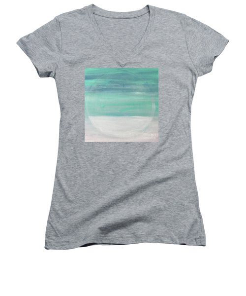 Women's V-Neck T-Shirt (Junior Cut) featuring the painting To The Moon by Kim Nelson