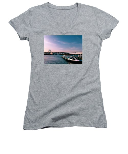 To The Space From Sea Women's V-Neck T-Shirt (Junior Cut) by Momoko Sano