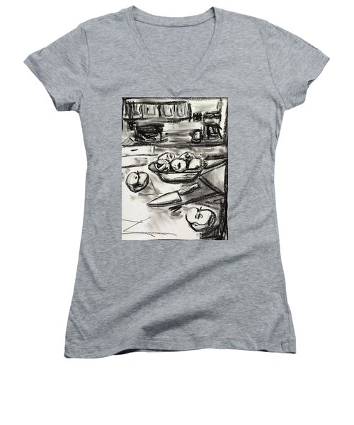 Apples At Breakfast Women's V-Neck T-Shirt