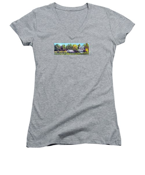 Women's V-Neck T-Shirt (Junior Cut) featuring the painting Tobacco Barn On Deppe Loop Rd by Jim Phillips