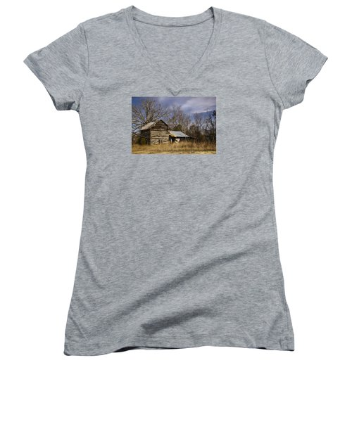 Tobacco Road Women's V-Neck T-Shirt (Junior Cut) by Benanne Stiens