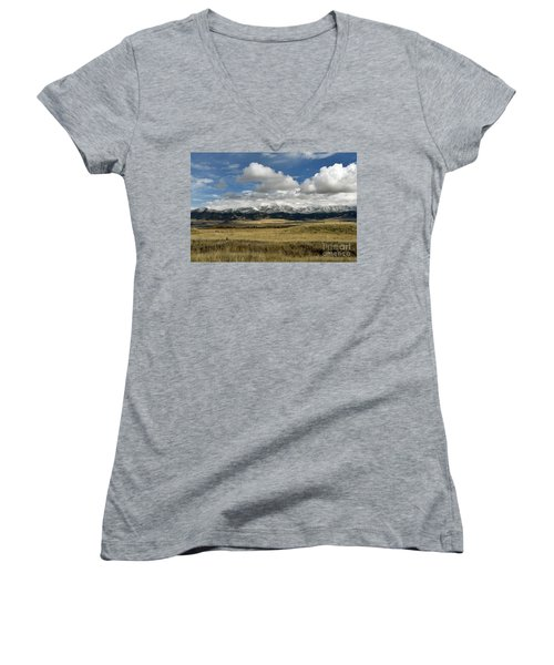 Tobacco Root Mountains Women's V-Neck T-Shirt (Junior Cut) by Cindy Murphy - NightVisions