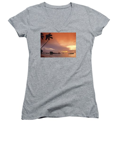 Women's V-Neck featuring the photograph Tobago, Pigeon Point Sunset, Caribbean Sea, by Juergen Held