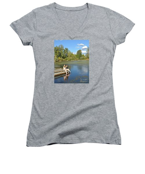 Toes In The Water Women's V-Neck T-Shirt (Junior Cut) by Mindy Bench