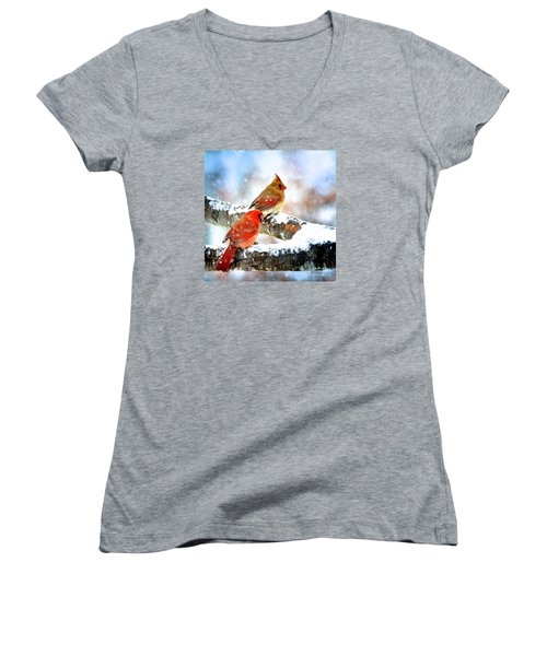Together In The Snow Women's V-Neck T-Shirt (Junior Cut) by Nava Thompson