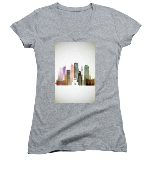 Tokyo  Cityscape Women's V-Neck T-Shirt (Junior Cut) by Dim Dom