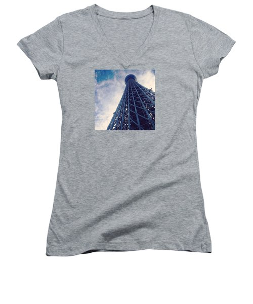 Skytree Tower From The Bottom, Tokyo, Japan Women's V-Neck T-Shirt (Junior Cut) by Yoshiaki Tanaka